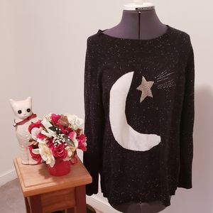Loft Moon and Star Speckled Sweater